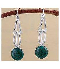 chrysocolla dangle earrings, 'radiant jungle' (peru)
