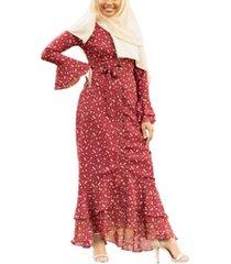 urban modesty women's daisy ruffle button down maxi dress