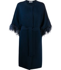 p.a.r.o.s.h. embellished sleeve belted single-breasted coat - blue