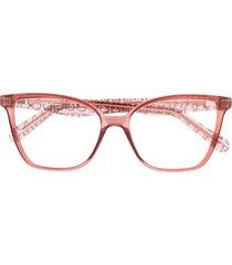 salvatore ferragamo armação de óculos quadrada gancini - rosa
