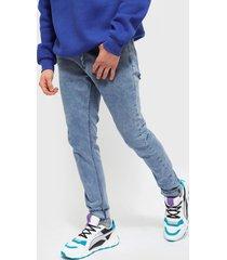 jeans ellus new skinny tiro medio med blue repreve azul - calce skinny