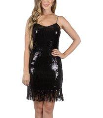 crystal doll juniors' sequin fringe dress
