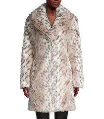 karl lagerfeld paris women's snow leopard-print faux fur coat - snow leopard - size s
