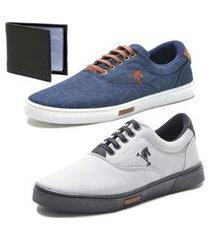 tênis sapatenis sapato conforto polo joy kit 2 pares e carteira cinza/azul