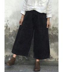 pantaloni casual in velluto a coste larghi con coulisse in vita