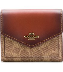 coach signature canvas small wallet - brown