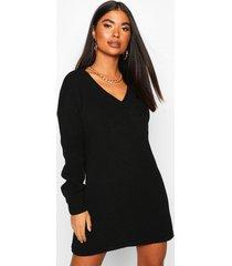 petite geribbelde trui jurk met v-hals, zwart