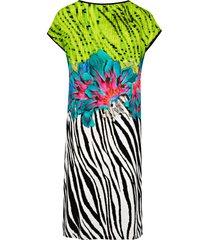 jurk met sierelement voor bij de hals van hutschreuther one multicolour