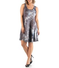 24seven comfort apparel women's plus size sleeveless tie dye dress