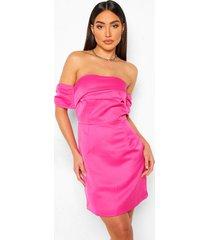 gedrappeerde mini jurk met open schouders, bubblegum