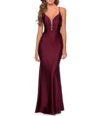women's la femme triple twist detail satin jersey trumpet gown