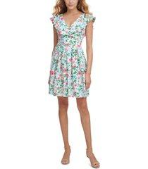 kensie ruffle-detail jersey a-line dress