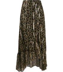 ba & sh leopard print maxi skirt - brown
