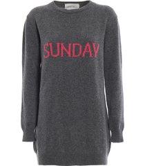 alberta ferretti sunday grey long crewneck sweater