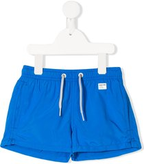 mc2 saint barth logo patch drawstring swim shorts - blue