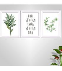 conjunto kit 3 quadro oppen house s frases aqui sã³ entra o bem folhagem aquarela moldura branca e vidro - multicolorido - dafiti
