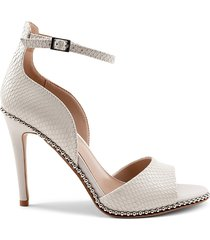 bcbgeneration women's jessika snakeskin-embossed leather dress sandals - pearl - size 5