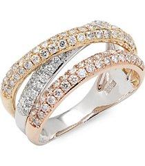 0.98 tcw diamond, 14k white, yellow & rose gold ring