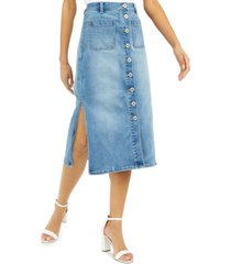 inc button-down denim midi skirt, created for macy's