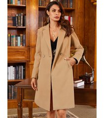 khaki pockets notch collar long sleeves trench coat