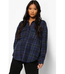 petite oversized geruite blouse met uitgesneden rug, navy