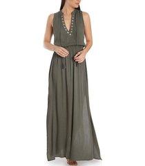 lange jurk selmark mare mouwloze zomer maxi-jurk