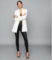 reiss valerie - leather ponte leggings in black, womens, size 10