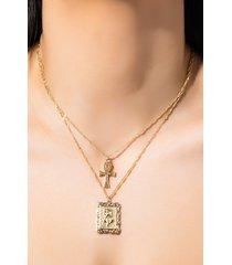 akira ankh and rose layered necklace