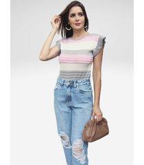 blusa regata pink tricot de tricô canelado com bababos e listras feminina