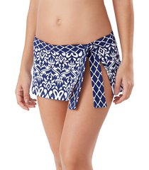 tommy bahama women's ikat printed swim skirt - mare navy - size xl