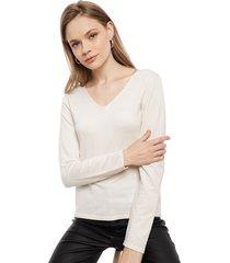 sweater lineatre cuello v crudo - calce regular