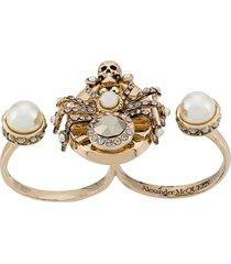 alexander mcqueen spider double-ring - gold