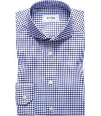 overhemd eton donkerblauw ruit super slim fit
