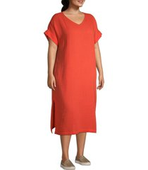 eileen fisher women's plus organic cotton midi dress - red lory - size 2x (18-20)