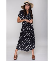 colourful rebel 10191 dalia daisy shortsleeve maxi shirt dress black-