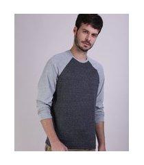 camiseta masculina manga longa gola careca cinza mescla escuro