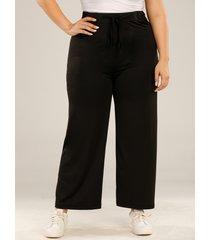 plus talla black tie-up diseño pantalones