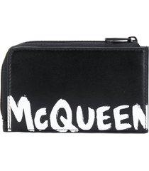 alexander mcqueen logo print coin pouch cardholder - black