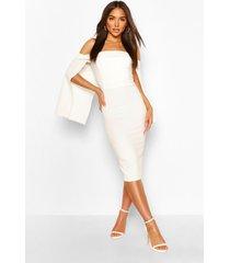 bandeau cape midi dress, white
