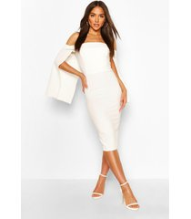 bandeau cape midi dress, white