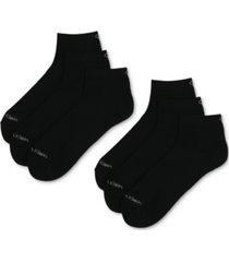 calvin klein men's 6-pack extended quarter-crew socks