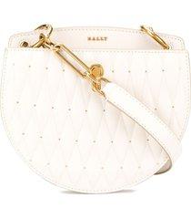 bally diamond-quilt crossbody bag - white