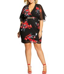 plus size women's city chic iris love faux wrap dress, size xx-large - black