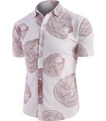 tree ring print short sleeve linen shirt
