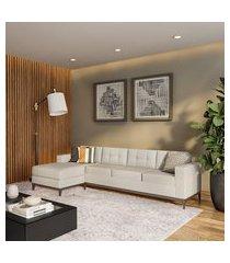 sofá 4 lugares surprised com chaise esquerdo pés e base em madeira linho cotton cru