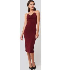 trendyol back slit midi dress - red