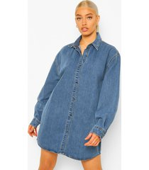 oversized spijkerblouse jurk, dark blue