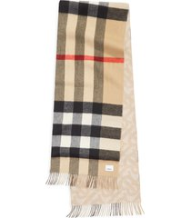 burberry check & tb monogram reversible cashmere scarf in alabaster at nordstrom