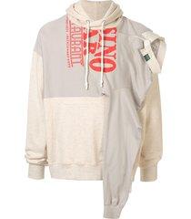 maison mihara yasuhiro asymmetric patchwork hoodie - neutrals