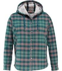 wolverine cheyenne bonded sherpa shirt jac emerald plaid, size xl